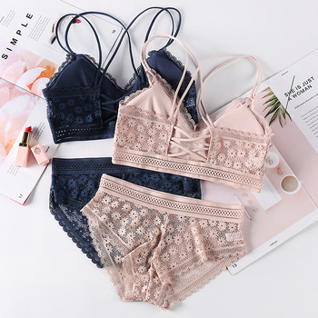 Beauty Back Sexy Women's Underwear Set Transparent Lace Push-up Bra and Panty Sets Female Brassiere Embroidery Lingerie Set image