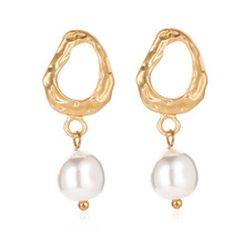 2019 New High Quality Irregular Geometric Drop Earrings Korean Palace Baroque Pearl Tassel