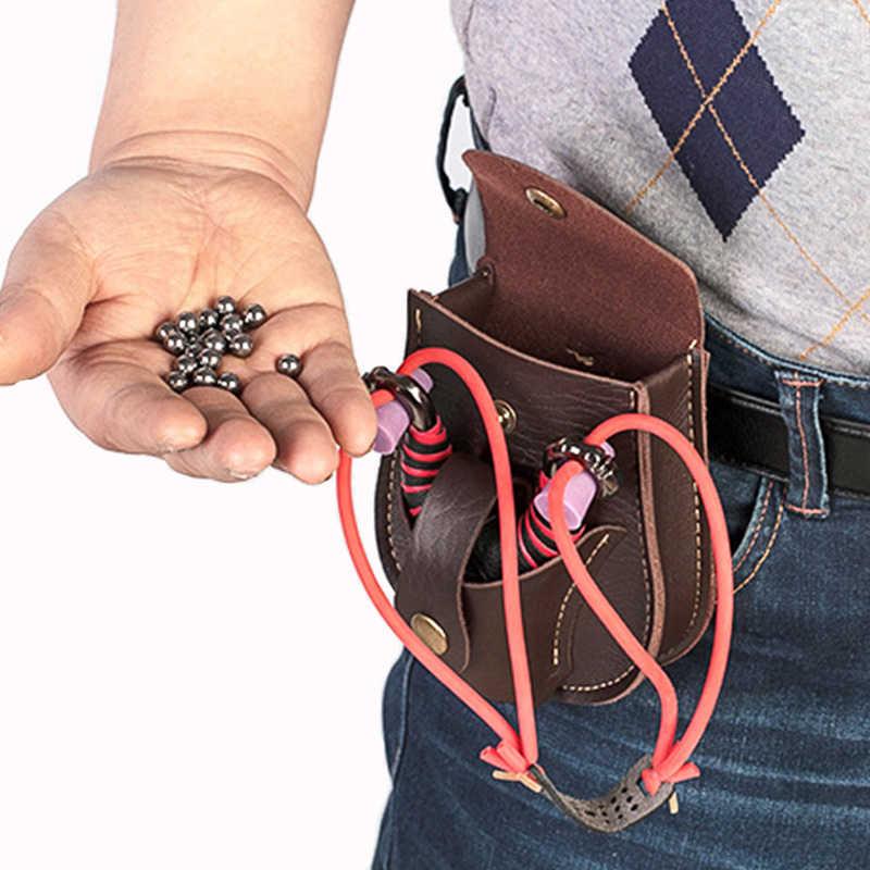 Esportes ao ar livre pacote de bola de aço portátil pu estilingue saco de volta através da correia durável sem deformação para a caça