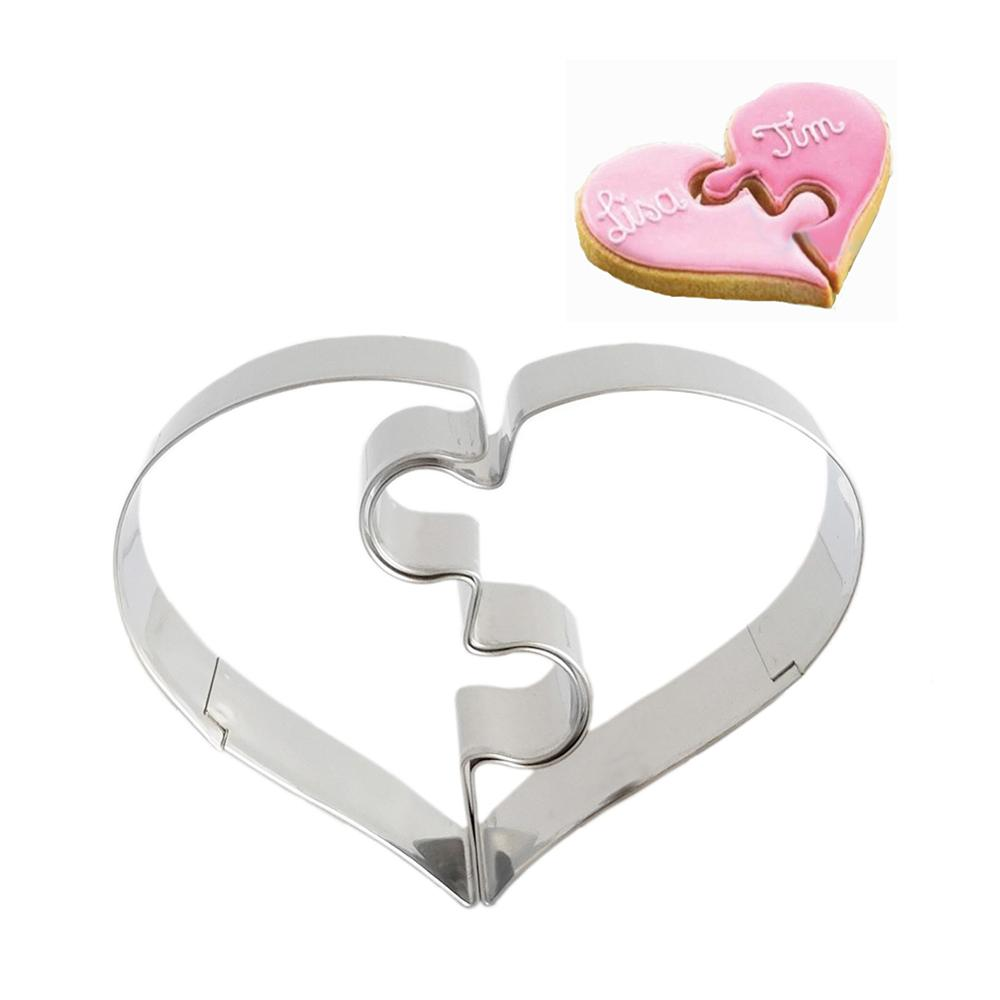 2pcs/set Heart Shaped Baking Molds Cookie Molds Puzzles Romantic Cookies Mold Cookie Cutter Funny Love Wedding