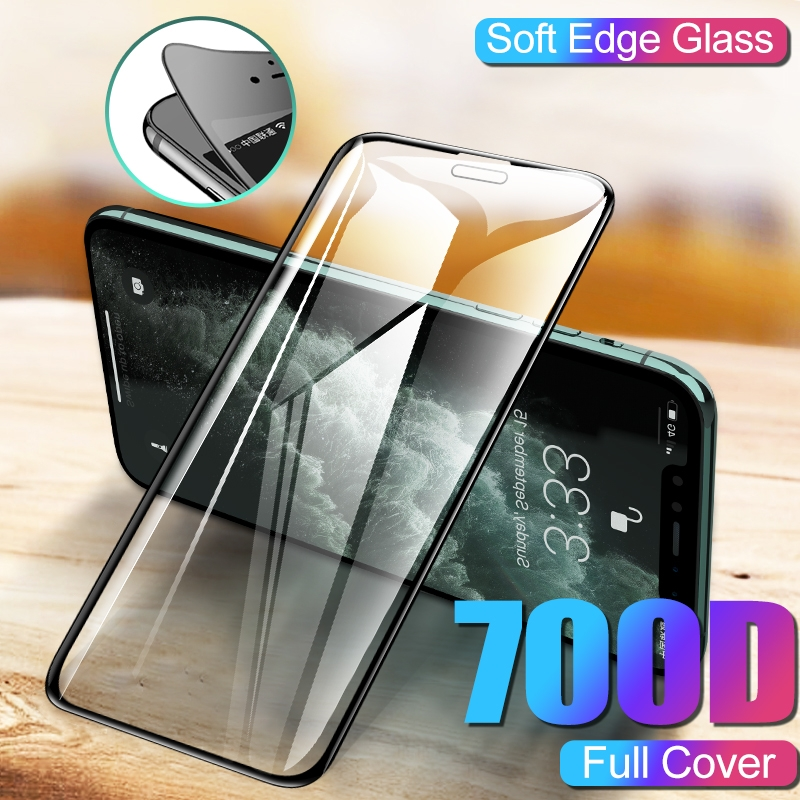 700D Curved Edge Tempered Glass On The For IPhone 11 Pro Xs Max 7 6 6s 8 Plus Protective Glass X Xr Screen Protector Sofe Film