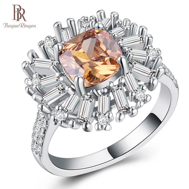 Bague Ringen Women 925 Sterling Silver Ring Wtih 10MM  Big Citrine Gemstone Silver Engagement Jewelry Woman Gifts Size 6-10