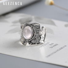 925 Sterling Silver Gemstone Wide Ring For Women Trendy Vintage Powder Crystal Plain Silver Rings Fine Jewelry Party Gift Bijoux