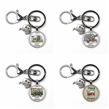 Hot personality camp pattern double sided glass pendant keychain cute mini car model lobster buckle keyring pendant jewelry gift keyring buck model pendant decor