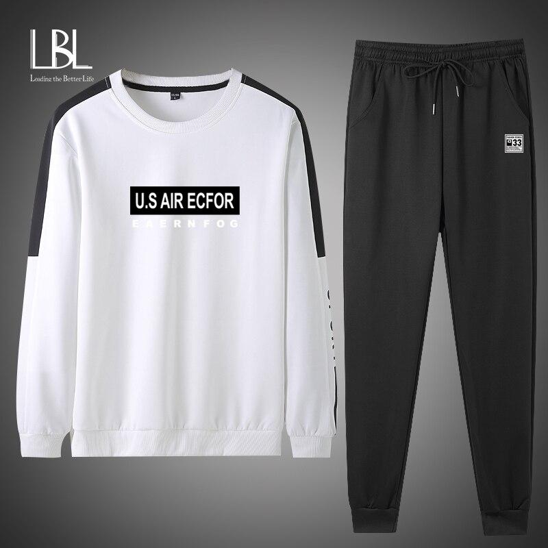 New Men's Set Spring Autumn Man Sportswear 2 Piece Sets 2020 Sports Suit Jacket+Pant Sweatsuit Male Tracksuit Asia Size L-4XL
