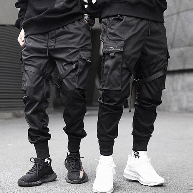 Aelfric Eden Bänder Hüfte Hop Cargo Hosen Männer Schwarz Tasche Streetwear Harajuku Techwear Hosen Hosen Harem Jogger Jogginghose