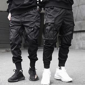 Image 1 - Aelfric Eden Ribbons 힙합 카고 바지 남성용 블랙 포켓 Streetwear 하라주쿠 Techwear 바지 바지 Harem Joggers Sweatpants