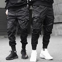Aelfric Eden şeritler Hip Hop kargo pantolon erkekler siyah cep Streetwear Harajuku Techwear pantolon pantolon Harem Joggers Sweatpants