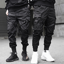 Aelfric עדן סרטי היפ הופ מכנסיים מטען גברים שחור כיס Streetwear Harajuku Techwear מכנסיים מכנסיים הרמון מכנסי טרנינג רצים