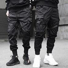 Aelfric eden fitas hip hop calças de carga dos homens preto bolso streetwear harajuku techwear calças harem joggers sweatpants