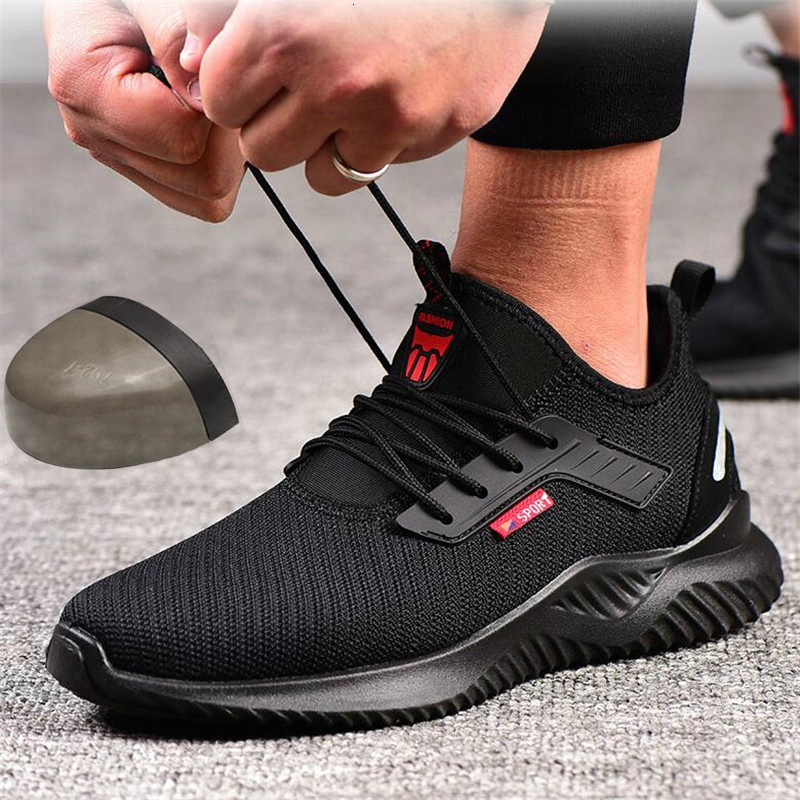 Steel Toe Work Shoes For Men Puncture Proof Safety Shoes Man Breathable Light Industrial Casual Shoes Male