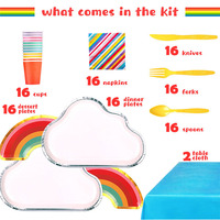 birthday party decorations kids cloud rainbow paper plate party disposable tableware dessert cups forks paper straws safari part