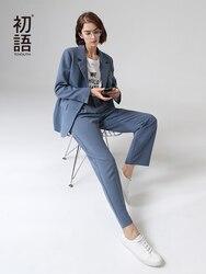 Toyouth Kantoor Dame 2 Stukken Broek Past Herfst Mode Turn Down Kraag Blazer Solid Uitloper Vrouwen Pak