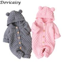 Детские вязаные комбинезоны с рисунком медведя; вязаные осенние комбинезоны для новорожденных мальчиков; зимняя одежда с длинными рукавами; свитер для малышей; Детский комбинезон