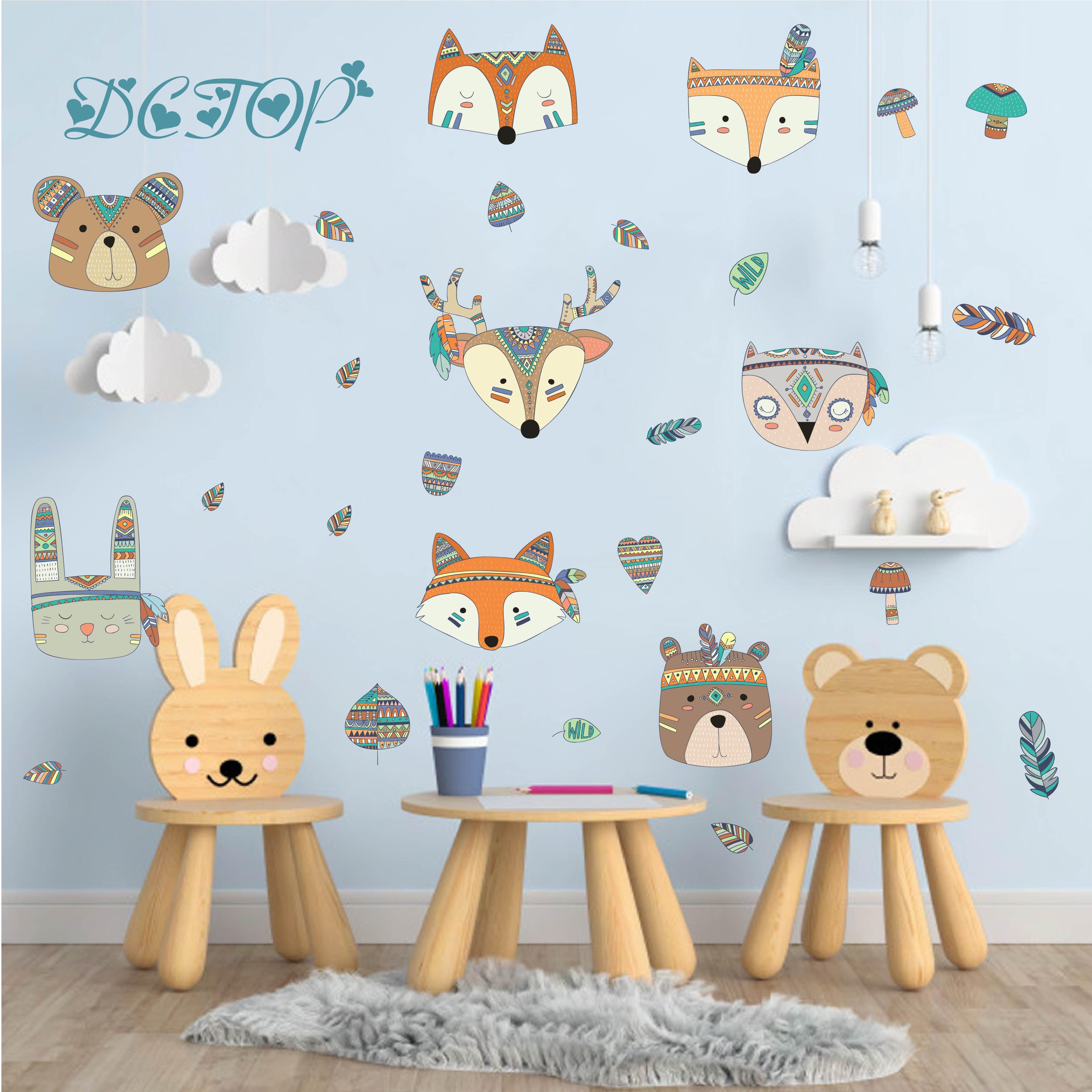 Children DIY Colored Woodland Tribal Deer Bear Rabbit Fox Wall Stickers Decals For Kids Nursery Room Decoration Vinyl Home Mural