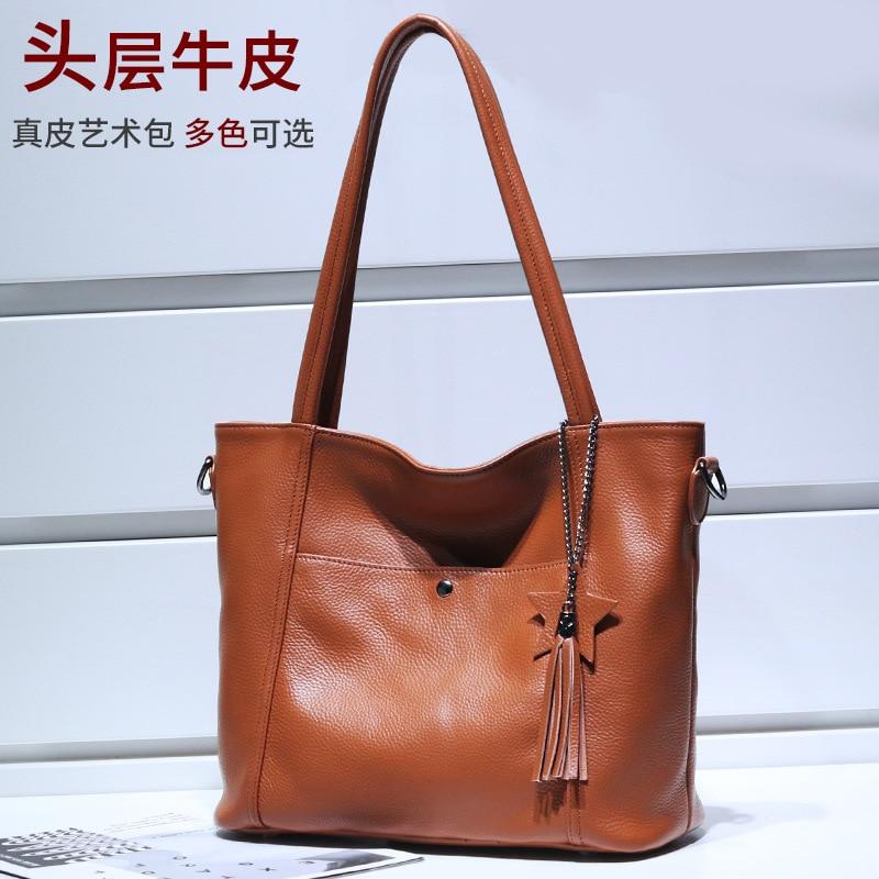 WOMEN'S Leather Bags New Style Full-grain Leather WOMEN'S Shoulder Bag Large Capacity Tote Bag Shoulder Handbag