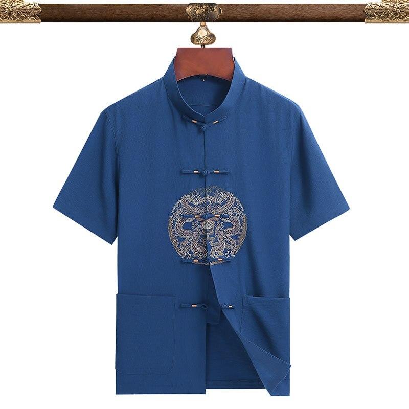 Купить vintage mandarin collar for men and women short sleeve shirt