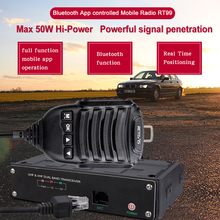 RETEVIS RT99 4G 블루투스 모바일 라디오 UHF VHF 자동차 워키 토키 50W 전체 기능 응용 프로그램 실시간 위치 모바일 라디오 작동