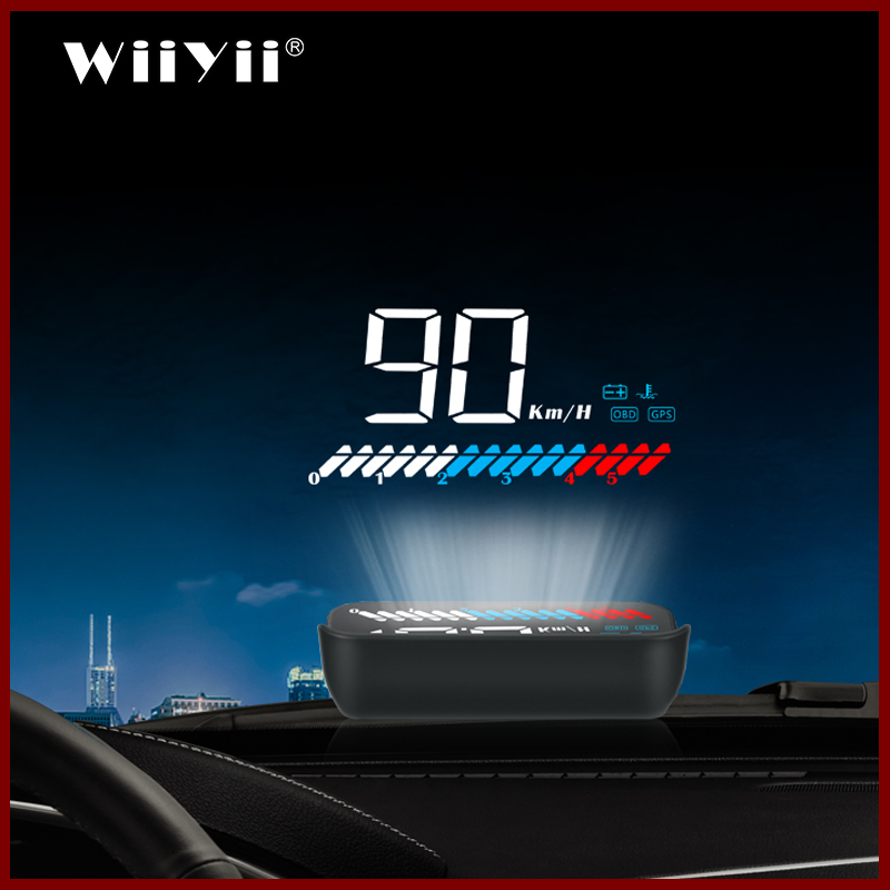 2020 NEW GPS M7 HUD car OBD2 head up display GPS With Lens Hood HUD Windshield Projector Electronic Voltage Alarm System