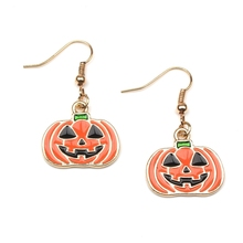 New Design 1 Pair of Punk Orange Openwork Pumpkin Lantern Mask Earrings Female Jewelry Mujer Bijoux Halloween Party Gift