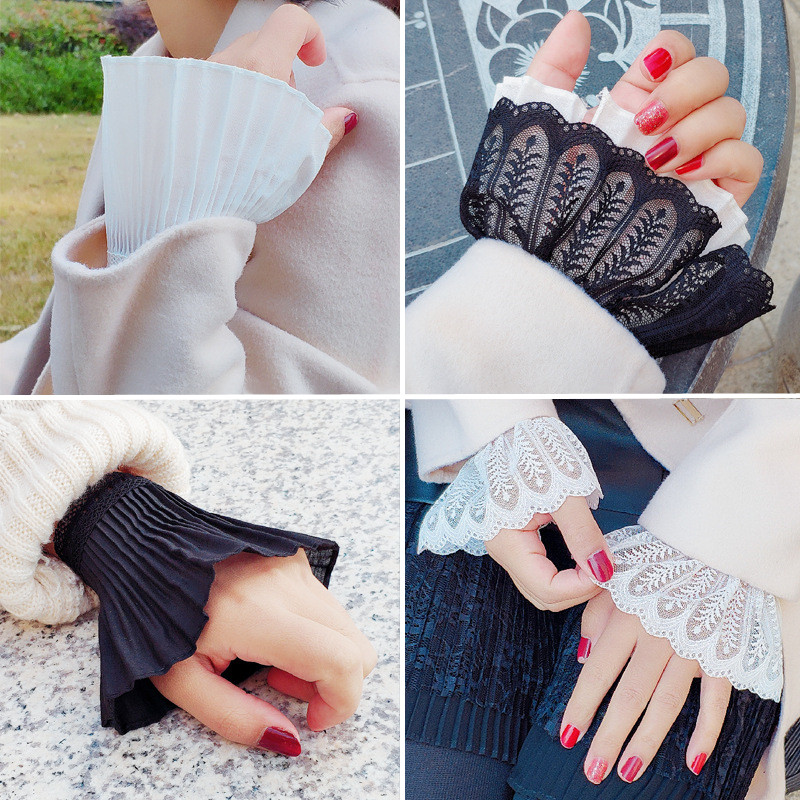 1 Pair Cotton Lace Pleated Fake Flare Sleeves Women Double False Cuffs Sweater Blouse Apparel Ornaments Wrist Arm Warmers