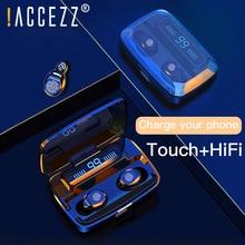 ! ACCEZZ אלחוטי אוזניות TWS Bluetooth5.0 HiFi IPX7 עמיד למים אוזניות מגע בקרת אוזניות עבור ספורט משחק אוזניות