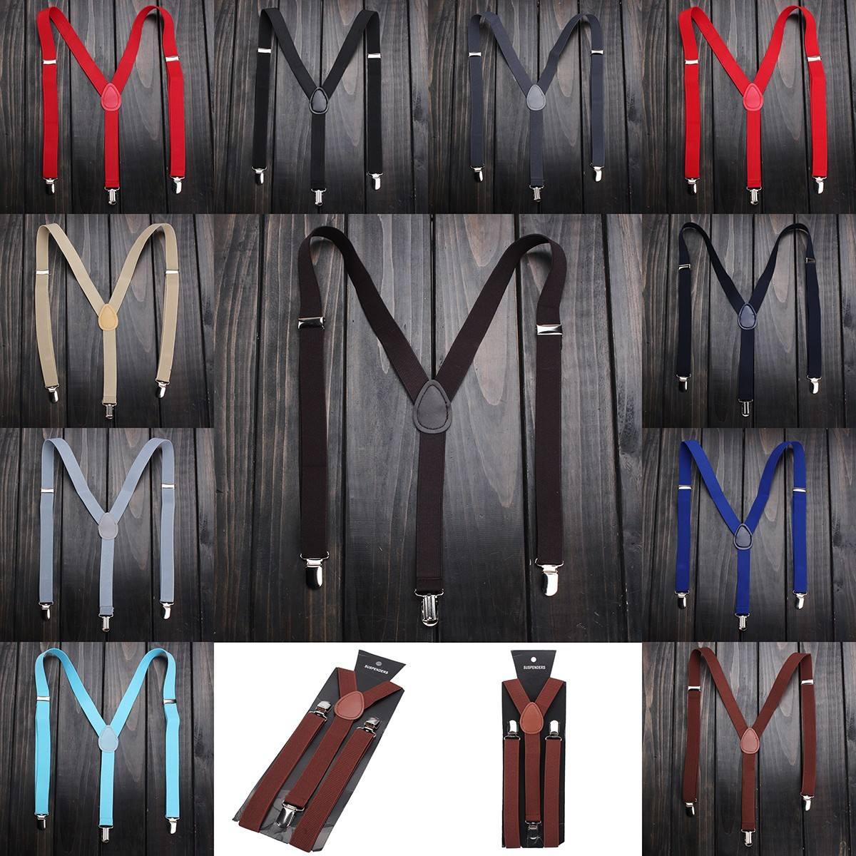 Fashion Adjustable Elastic Adult Suspender Straps Y Shape Clip-on Men's Suspenders 3 Clip Pants Braces For Women Belt Straps