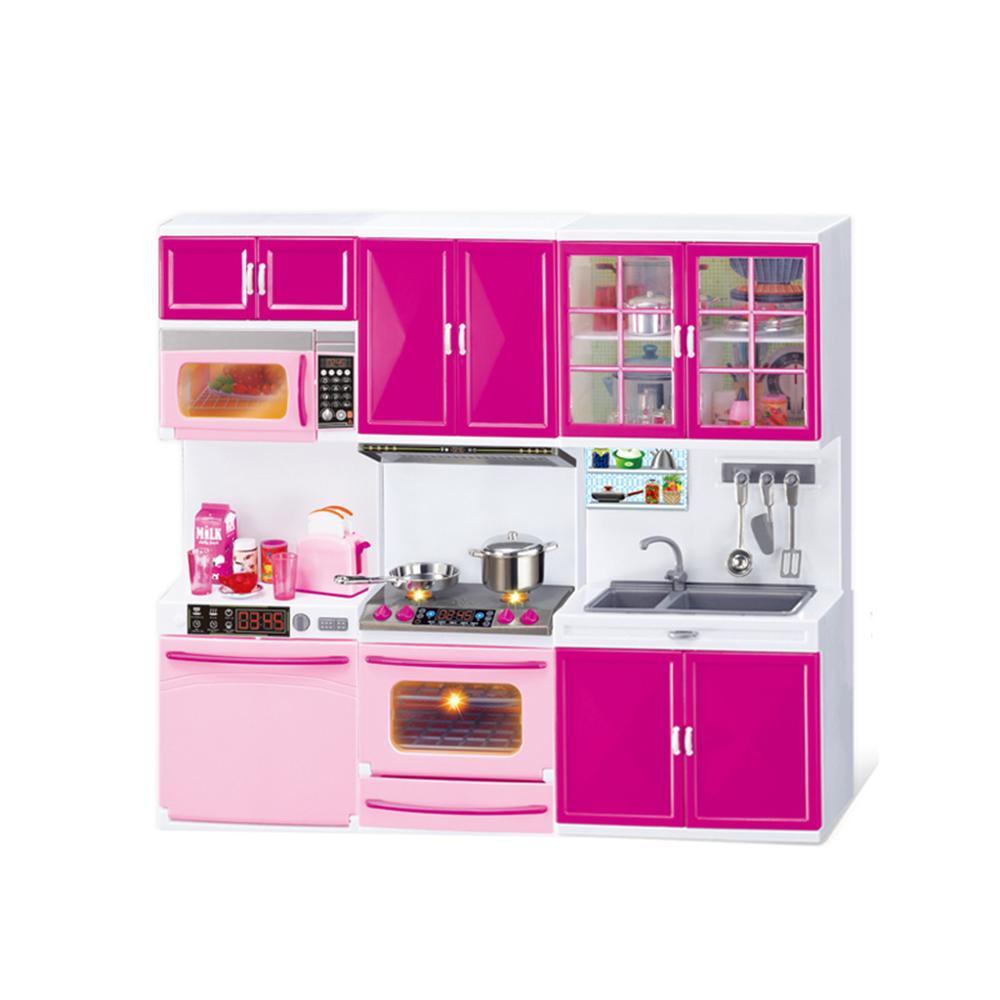 Simulation Kitchen Cabinets Set Children Pretend Play Cooking Tools Mini Dolls
