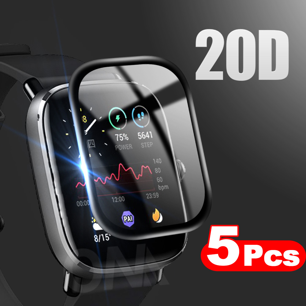 20D Curved Edge Full Coverage Soft Protective Film Cover For Amazfit GTS 2e 2 Mini POP BIP Screen Protector (Not Glass)