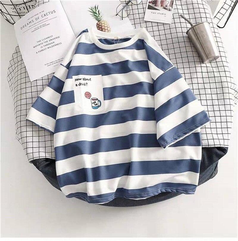 Cute Striped Tshirt Streetwear Summer Short Sleeve Oversized T Shirts Casual Harajuku Tops Japan Kawaii Oversized Tshirts Girl