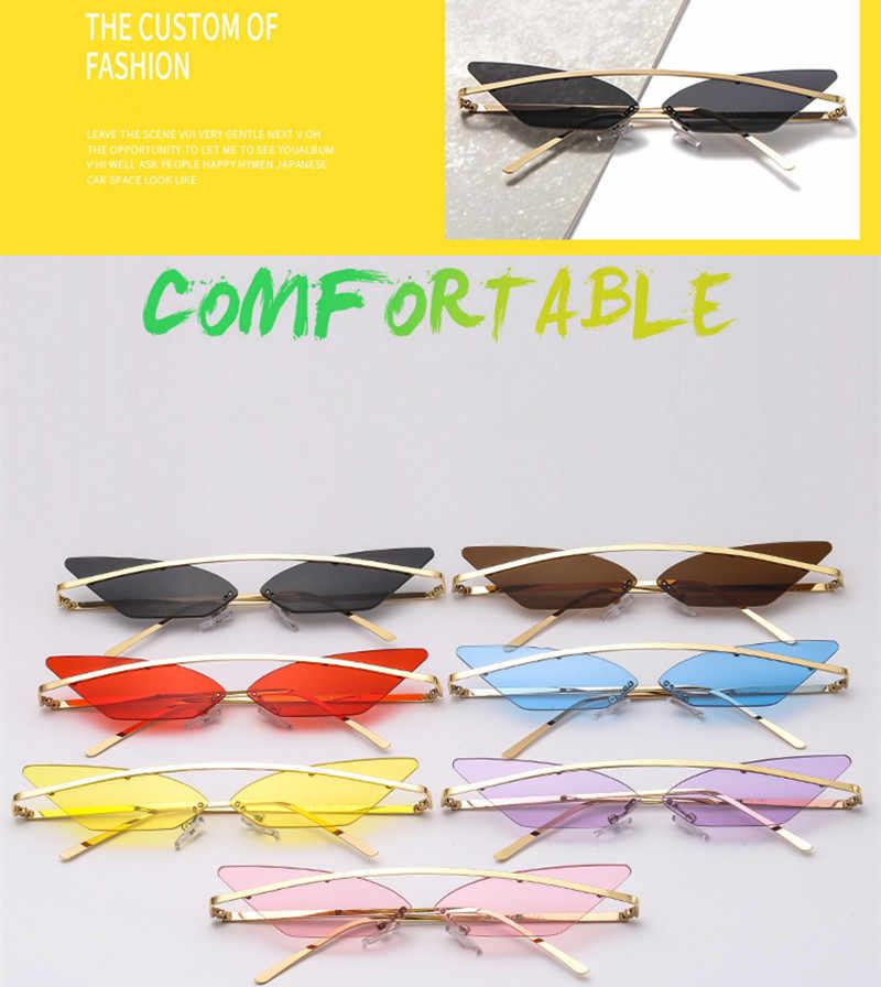 Gafas triangulares para mujer bonitas gafas de sol femeninas gafas de sol de lujo ojo de gato montura de Metal Vintage espejo sombras de mujer tendencias