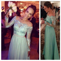 New Bateau Neckline Off Shoulder Lace Long Sleeves Mint Green Bridesmaid Dresses Brides Maid Dresses Free Shipping