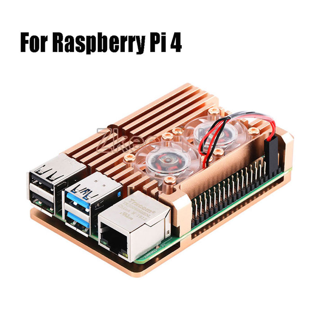 Aluminum Case Alloy Armor with Cooling Heatsink Dual Fan for Raspberry Pi 3/4 Model B,Pi 3 B+,Pi 2 Model B-in Demo Board Accessories from Computer & Office