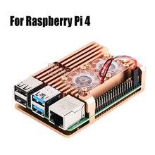 Armadura de liga de alumínio com dissipador de calor, ventilador duplo para raspberry pi 3/4 modelo b, pi 3 b +, pi 2 modelo b