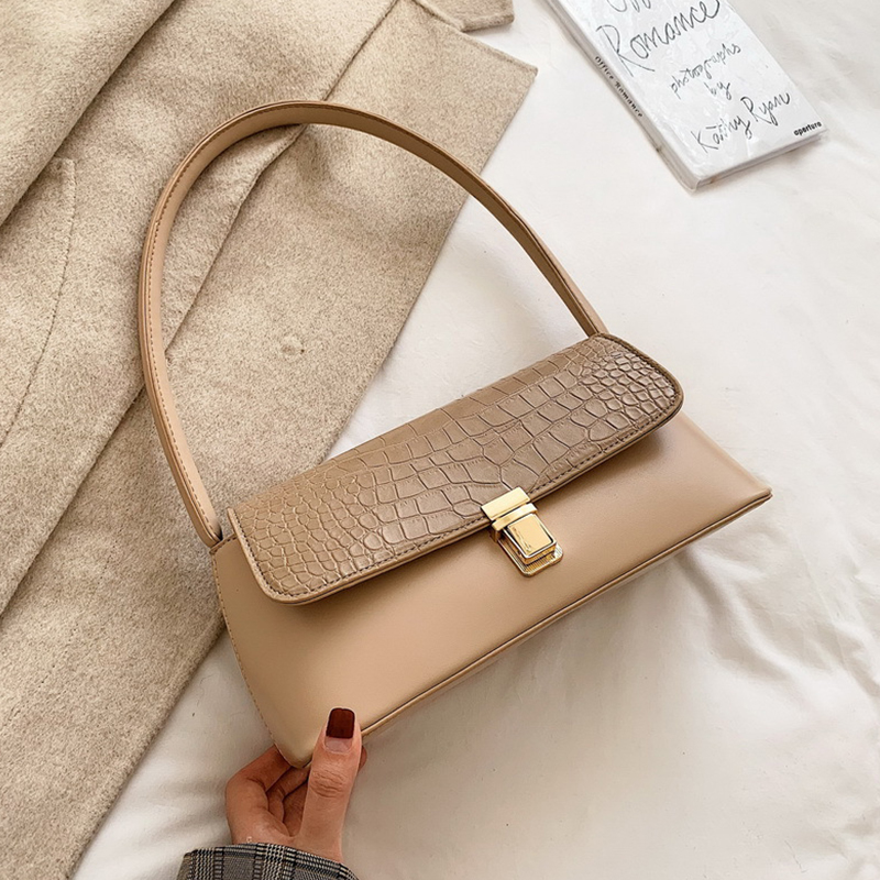 Fashion Alligator Baguette Women Handbags Designer Shoulder Bags Luxury Pu Leather Messenger Bag Vintage Small Purses 2019 Winte