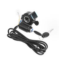 Electric Bicycle Thumb Throttle With LCD Digital Battery Voltage Display Speed Switch E-Bike E Scooter Handle Thumb Throttle