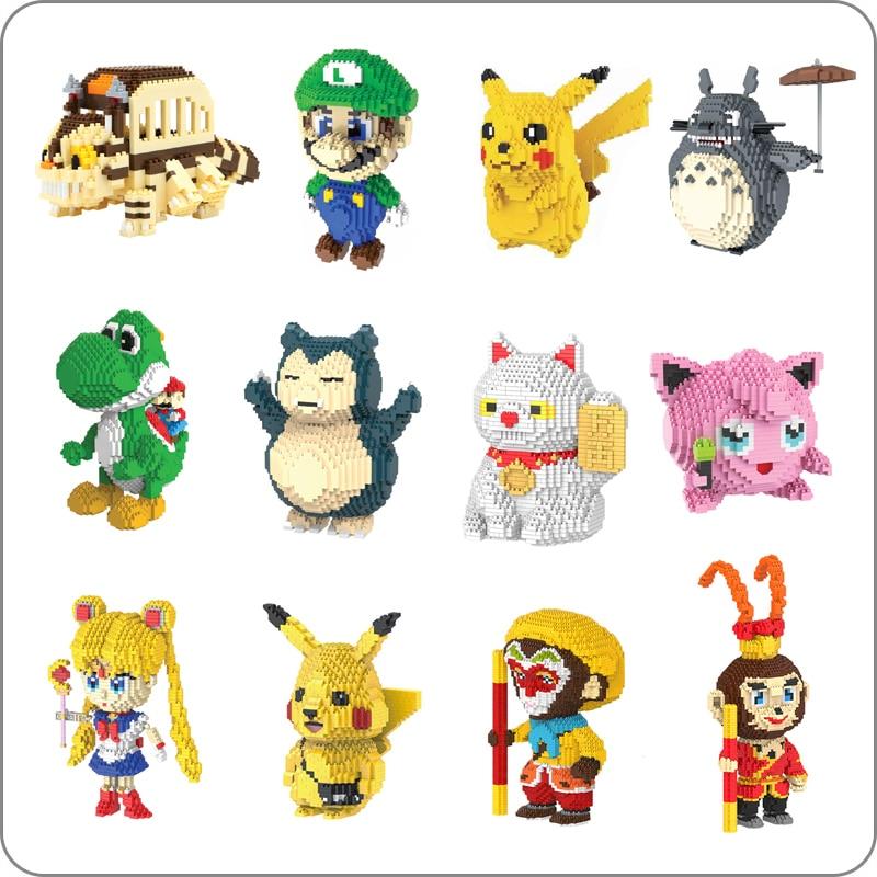 HC Super Mario Luigi Totoro Pikachu Yoshi Sailor Moon Monkey Cat Pocket Monster Small Mini Diamond Blocks Building Toy No Box
