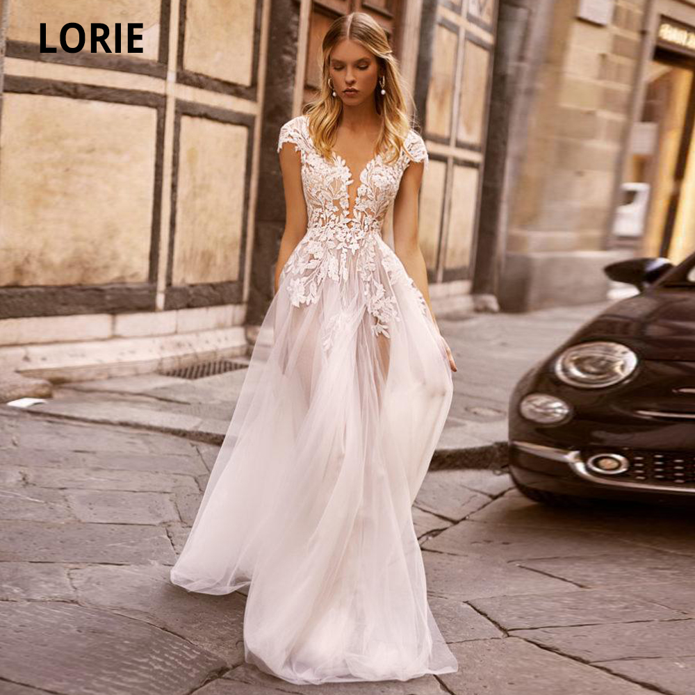 LORIE Boho Wedding Dresses Lace Beach Bridal Gowns 2020 V-neck Cap Sleeve Open Back Beautiful Wedding Party Dresses Plus Size