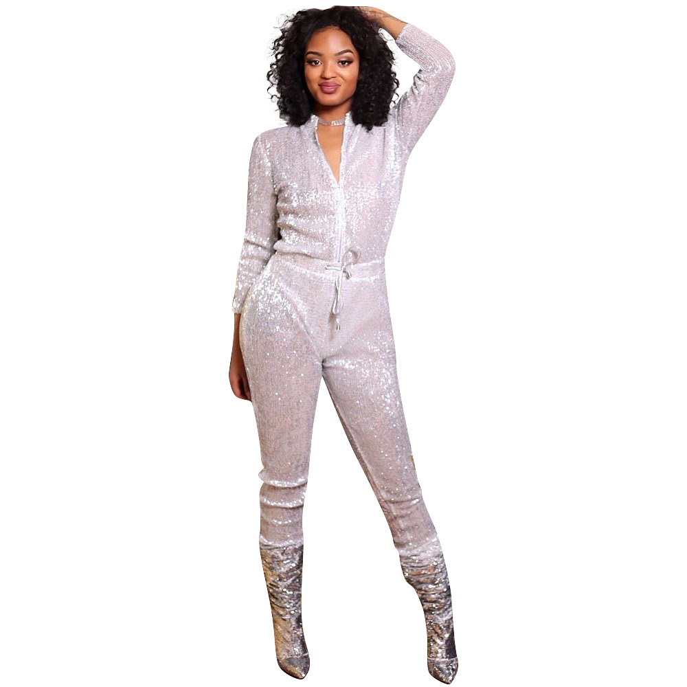<font><b>2018</b></font> Fashion Shiny Silver Charming Red Sequin <font><b>Jumpsuit</b></font> <font><b>Women</b></font> Party Nightclub Front Zipper Deep V <font><b>Sexy</b></font> Perspective Mesh <font><b>Jumpsuits</b></font> image