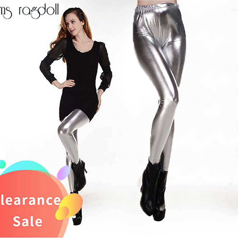 Herbst Laser Stilvolle metallic Fitness Hohe Taille Elastische Push-Up schwarz sexy Leggings Frauen Stretch Shiny Hosen Leggins Mujer