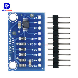 Diymore ADS1115 16 бит, 4-канальный аналого-цифровой преобразователь ADC PGA с программируемой платой усилителя усиления IIC 2-5 в для Arduino