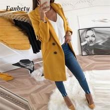Fanbety 5XL Women Blend Coat Autumn Winter Turn-Down Collar Long Wool Female Jacket