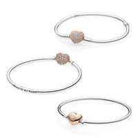 High quality PAN, 100% Sterling Silver 925 bracelet for women making gold pink charm clip heart Bracelet Gift Bracelet