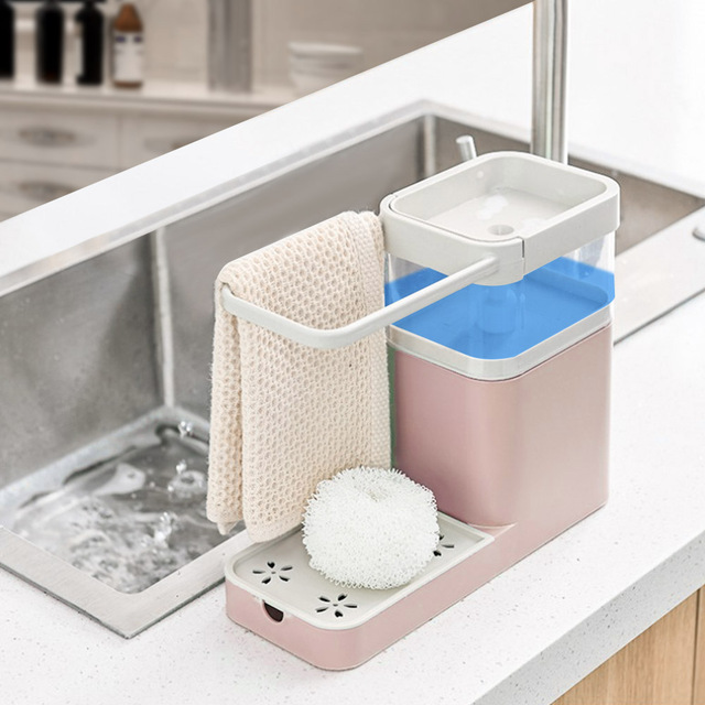 3-in-1 Soap Dispenser Towel Rack Sponge Holder Bathroom Multifunctional Cleaning Towel Organizer Tool 18
