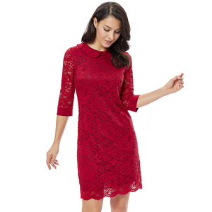Image 3 - YTL Women Retro Vintage Half Sleeve Dress Elegant Dinner Party Dresses Burgundy Lace Doll Collar Plus Size Dress 6XL 8XL  H263