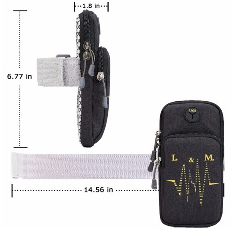 Armband Case on Hand Function for iPhone Huawei Phone Carrying Case with Headphone Hole Gym Running Sports Cellphone Arm Band in Armbands from Cellphones Telecommunications