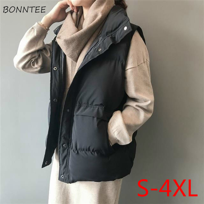 Vest Women Plus Size Winter Clothes Windproof Black Streetwear Waistcoats Womens Clothing With Pockets High Quality Korean 4xl