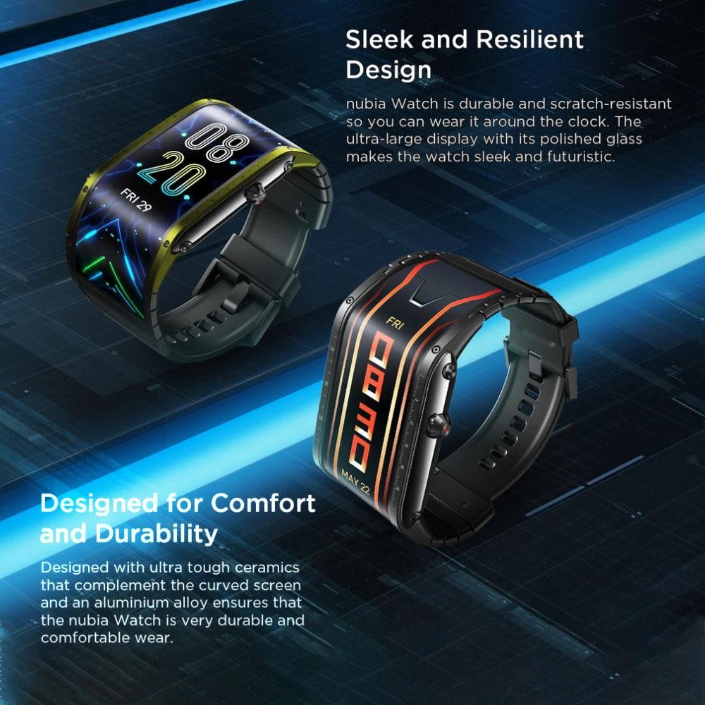 """Глобальная версия оригинальный Nubia Смарт-часы телефон 4,01 """"AMOLED Складная Snapdragon 8909W Bluetooth сотовый телефон Nubia часы-2"""