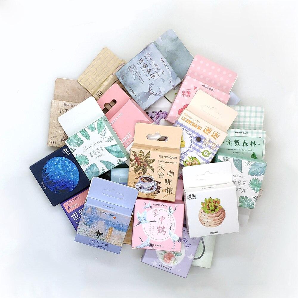 1 caja de pegatinas bonitas de papelería para álbum de recortes diario Kawaii pegatinas de plantas de café Diy Vintage material escolar adhesivos decorativos