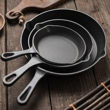 16/20/25CM Cast Iron Non-stick Skillet Steak Roasting Pan Breakfast Egg Pancake Maker For Gas Induction Cooker Kitchen Cookware цена и фото